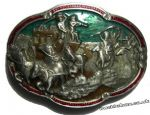 COWBOYS AND INDIANS Belt Buckle + display stand